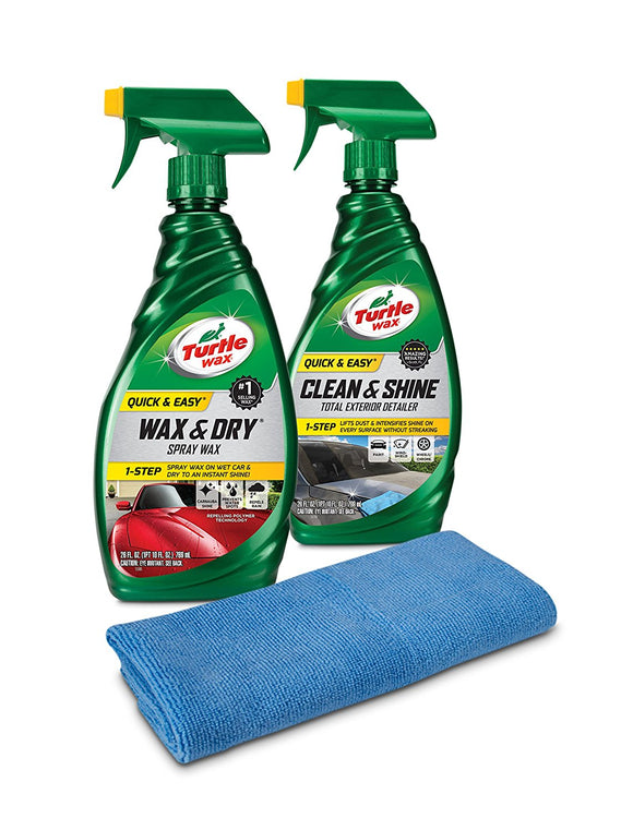 Turtle Wax 50835 Quick & Easy Wax and Detailer Kit with Microfiber Towel