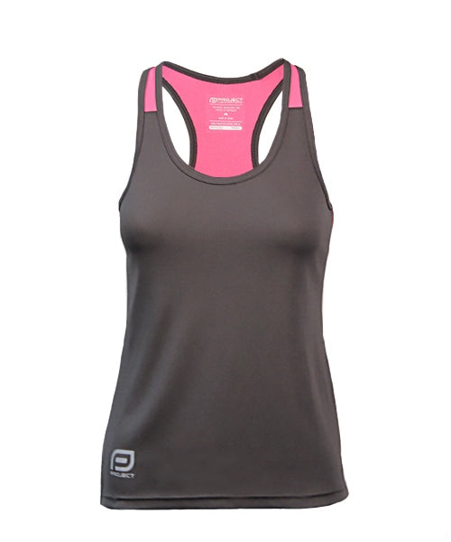 Women's Escape Singlet - Charcoal/Candy