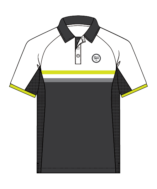 SW23 Golf Performance Polo - Grey/Lime