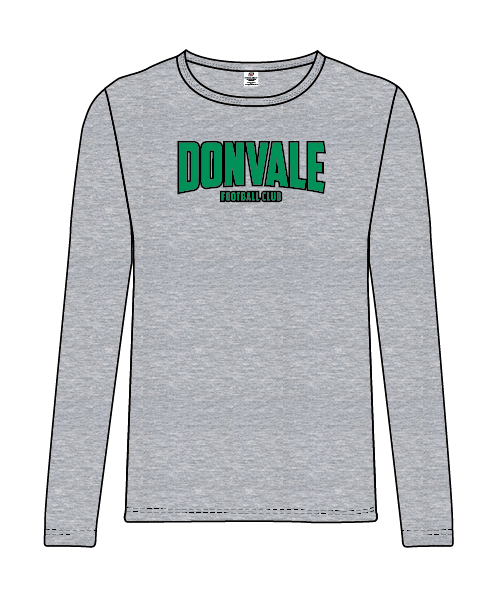 Donvale FC - Men's Long Sleeve Casual Tee - Grey
