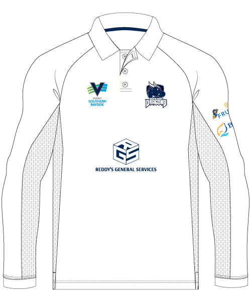BDCC Men's Long Sleeve Elite Playing Polo - White