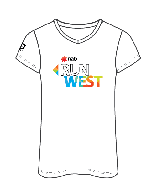 NAB RunWest - Women's Casual V Neck Tee - White