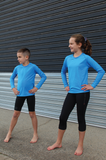 Youth Long Sleeve Compression Top - Blue