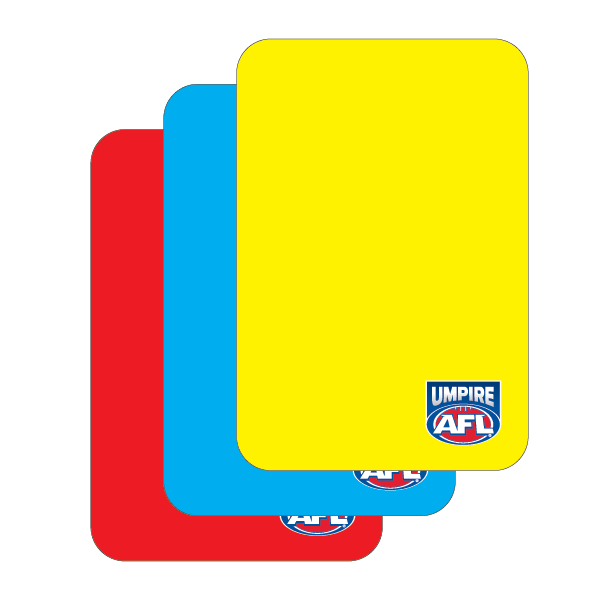 Umpire AFL Send off Cards (1x yellow, 1x red, 1x blue)
