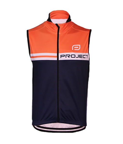 Men's Winter Cycle Vest - NAVY/ORANGE