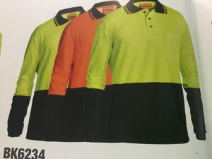 BISLEY HI VIS POLO SHIRT LONG SLEEVE