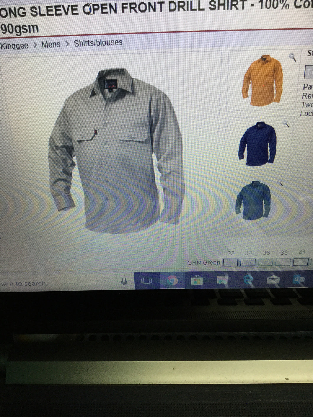 L/S Cotton Open Front Drill Shirt