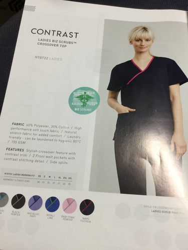 LADIES BIZ SCRUBS  CROSS OVER TOP