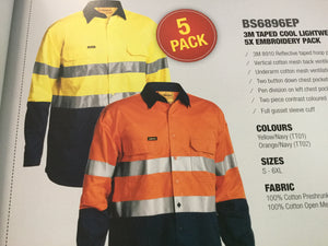 BISLEY HI VIS L/W LONG SLEEVE SHIRT WITH TAPE