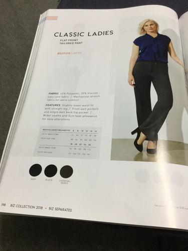 LADIES FLAT FRONT TAILORED PANT
