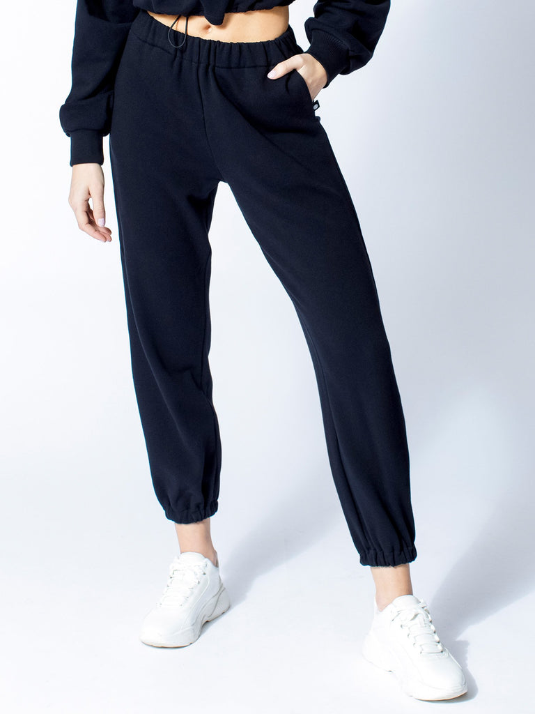 COTTON SWEATSUIT SET, BLACK