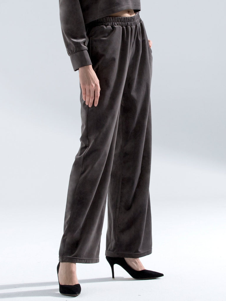 VELOUR WIDE LEG PANTS,GREY