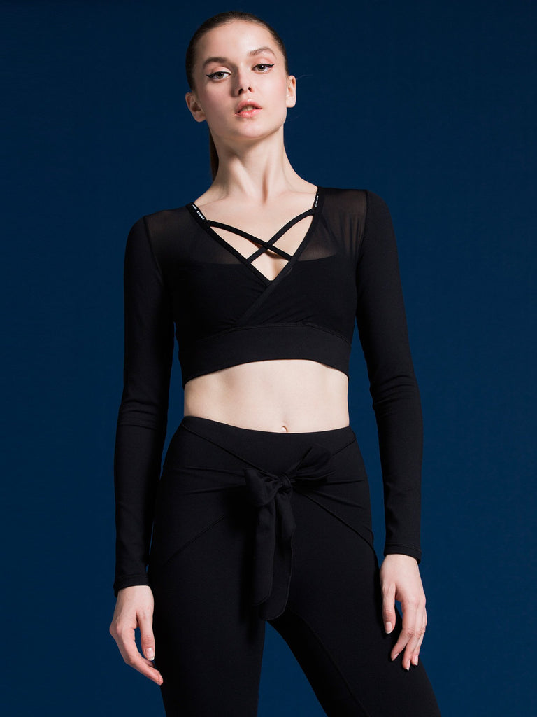 MESH & MATCH CROP TOP, BLACK MESH