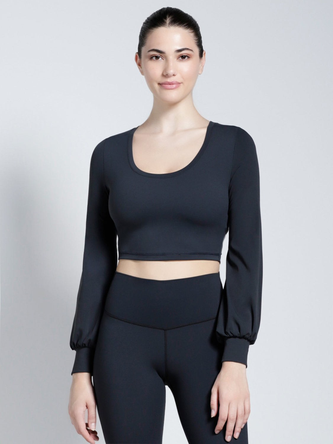 PUFF SLEEVE CROPPED TOP, MIDNIGHT GREY
