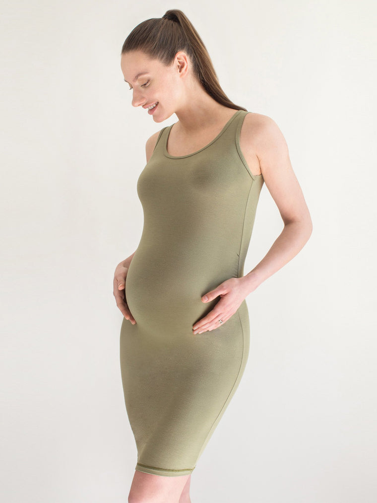 MATERNITY SOFT STRETCH SLEEVELESS MIDI DRESS, SAGE
