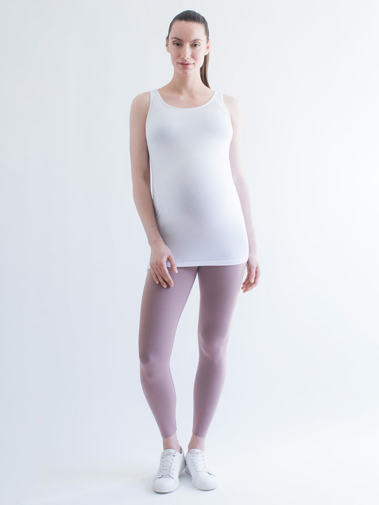 LONG SOFT STRETCH MATERNITY TANK, WHITE