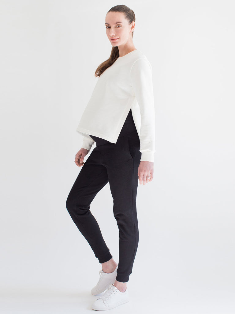 MATERNITY SOFT STRETCH SWEATSHIRT, WHITE