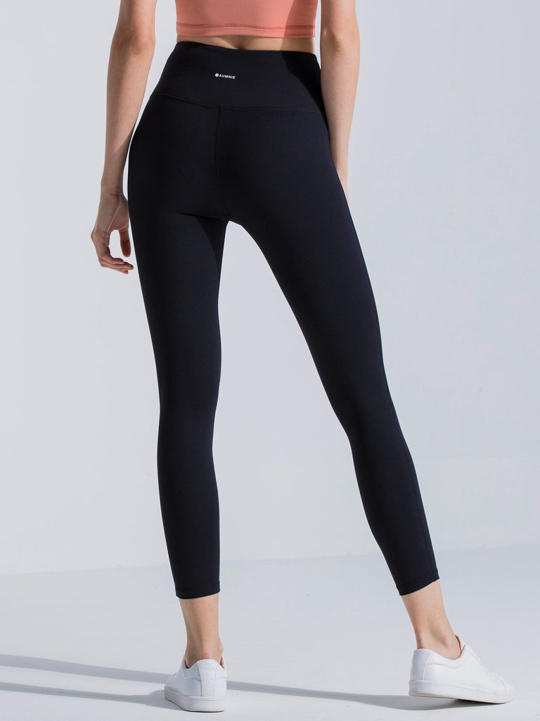 HIGH WAIST ANKLE CROPS, BLACK