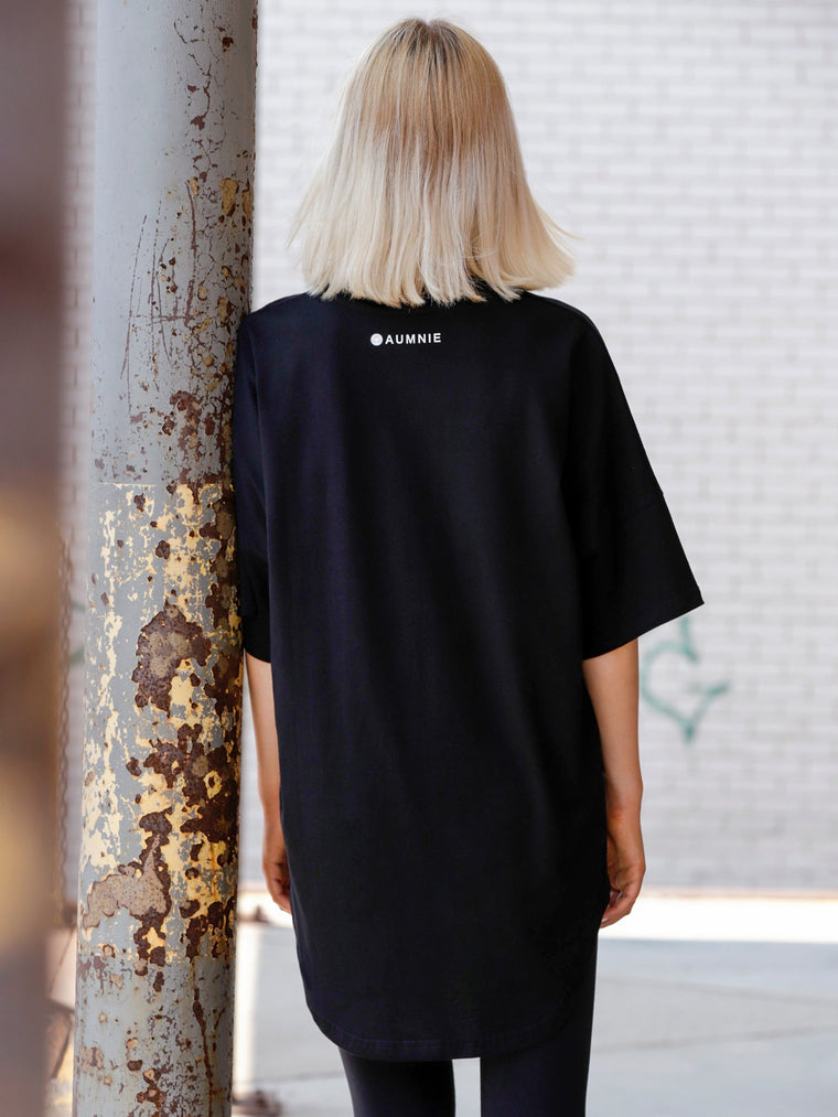 HI LO OVERSIZE COTTON TEE, BLACK