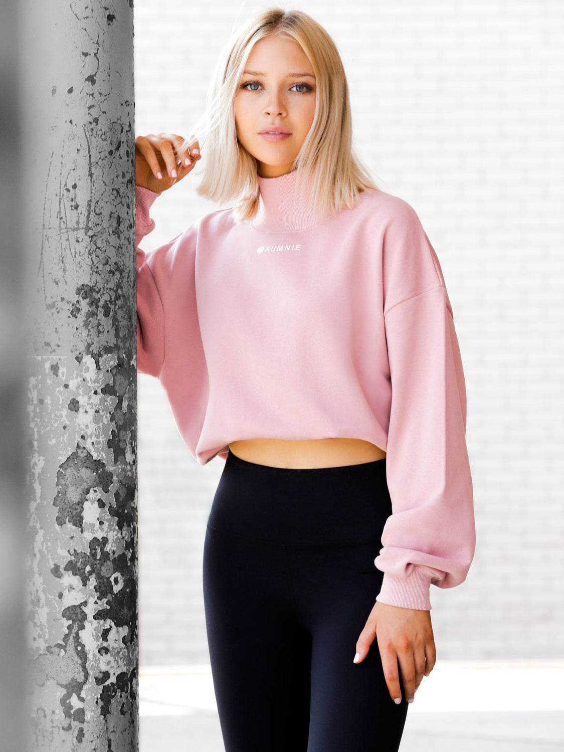 CT MOCK NECK SWEATSHIRT, PINK