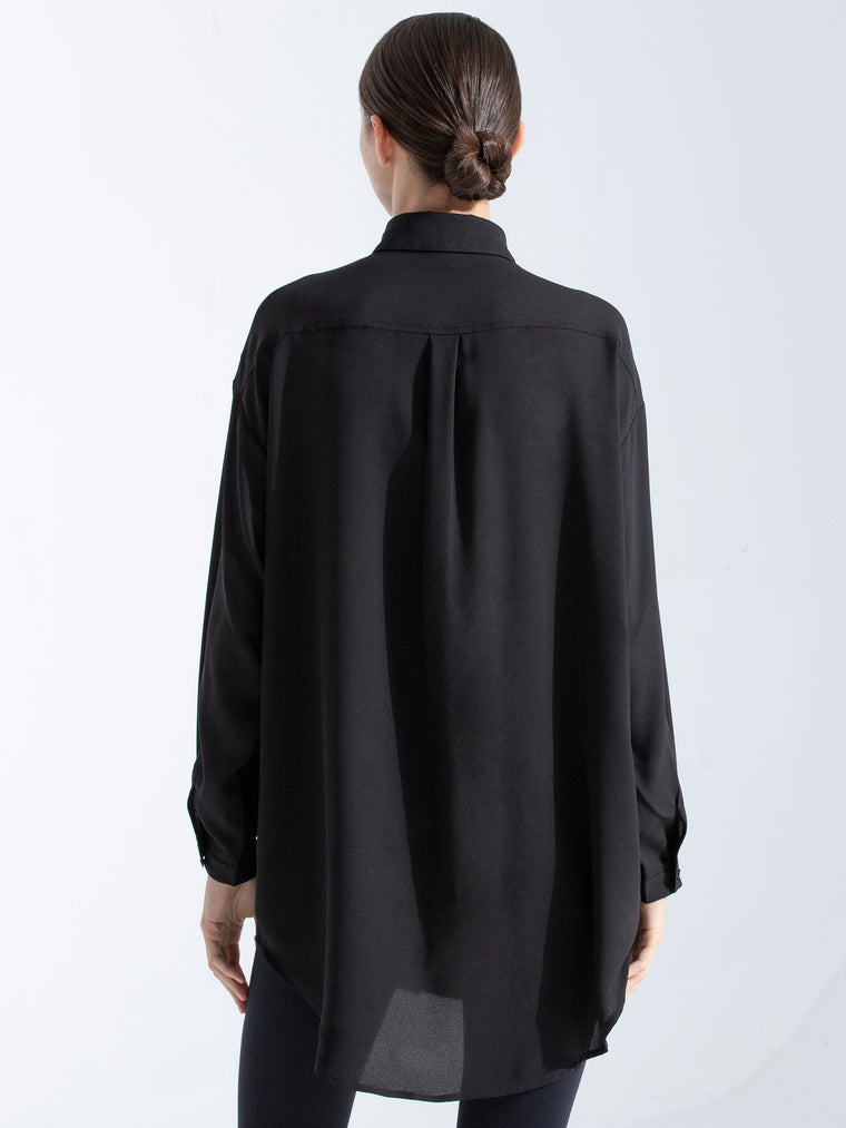 LONG CHIFFON BLOUSE, BLACK