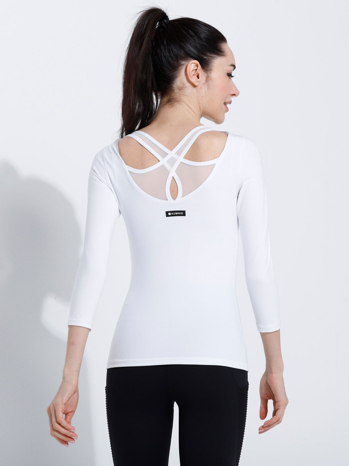 PARALLEL 3/4 SLEEVE TEE, WHITE