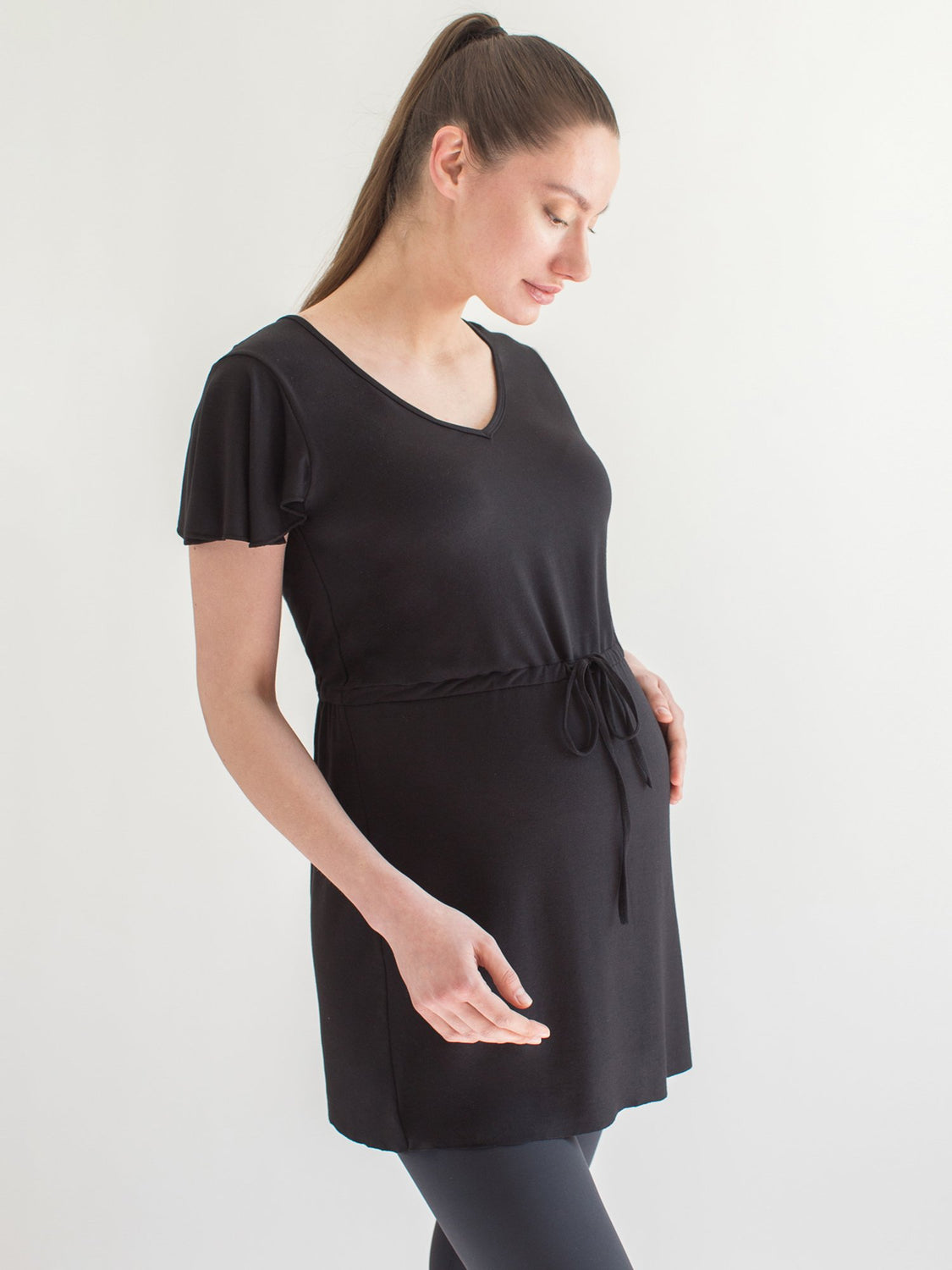 MATERNITY DRAWSTRING LILY TOP, BLACK