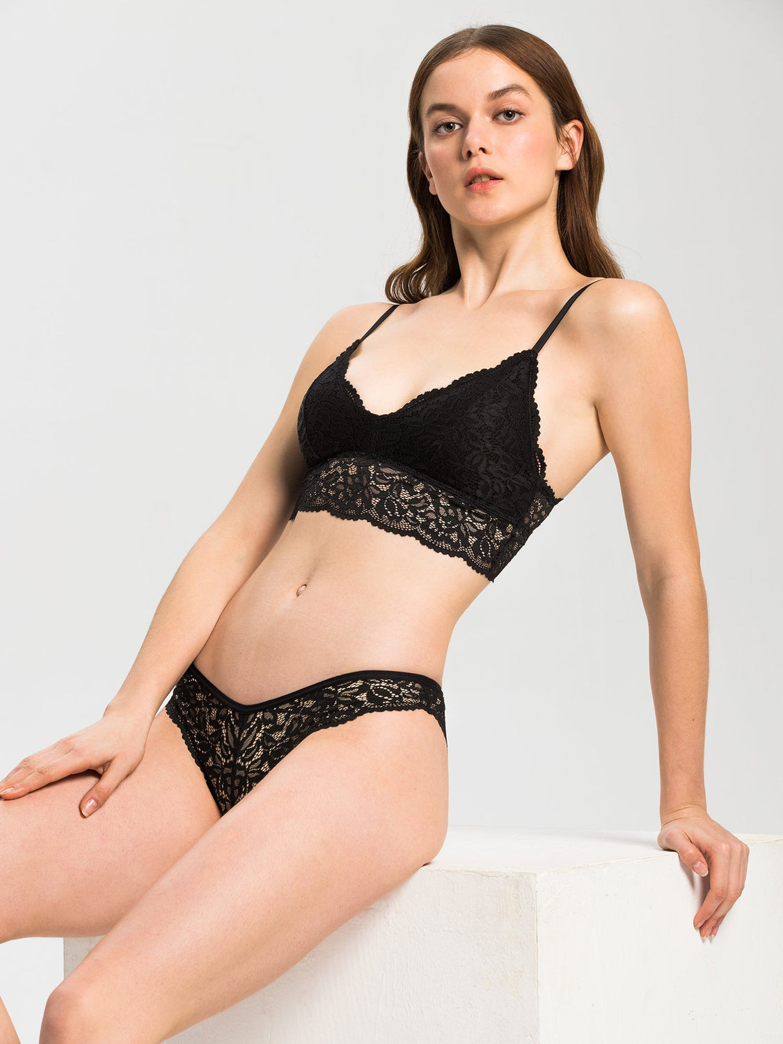 LACE BRALETTE SET, BLACK