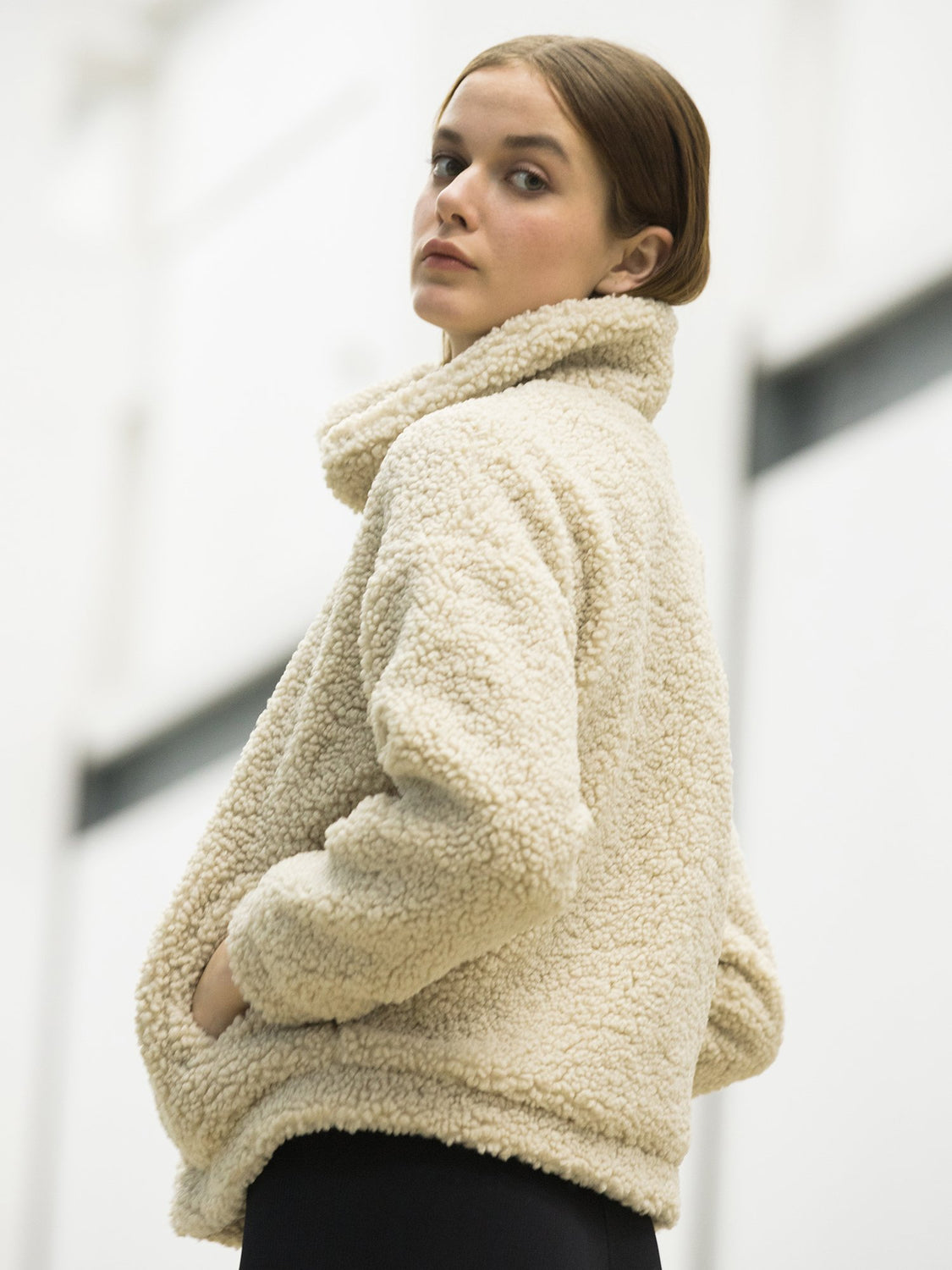 FAUX SHEARLING ZIP-UP JACKET, BEIGE