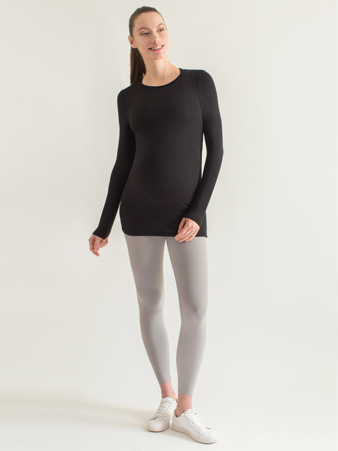 MATERNITY SOFT STRETCH LONG SLEEVE TEE, BLACK