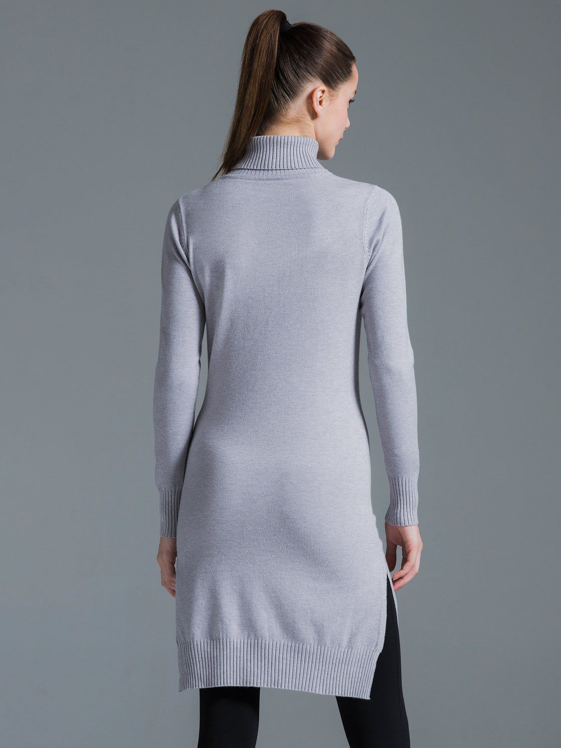 TURTLENECK KNIT DRESS W SLITS, GREY