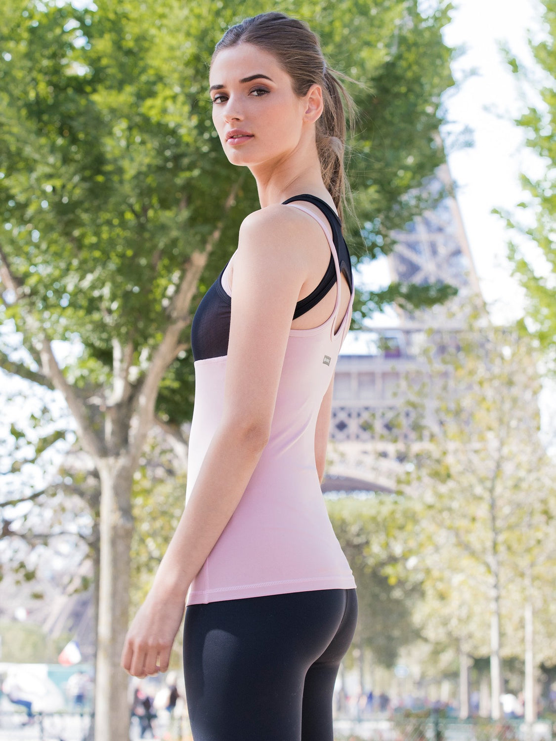 INSPIRATION TANK , BLUSH/BLACK MESH