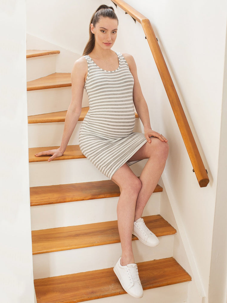 MATERNITY SOFT STRETCH SLEEVELESS MIDI DRESS, LIGHT HEATHER GREY STRIPE