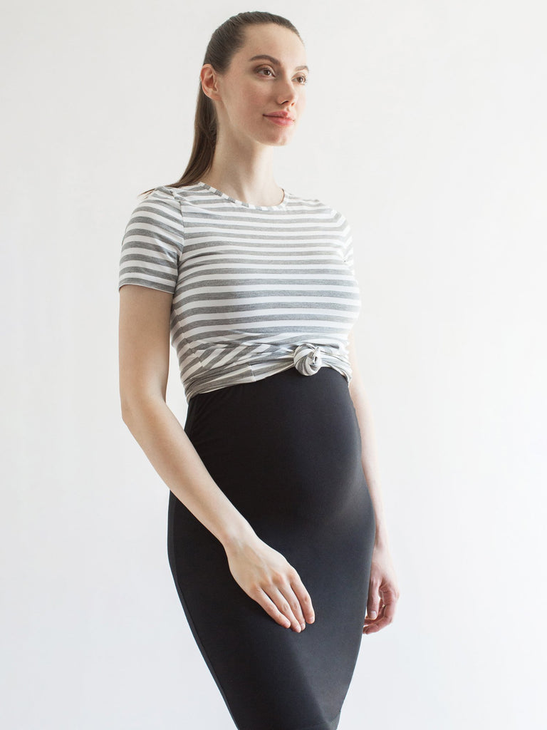 MATERNITY SOFT STRETCH SHORT SLEEVE TEE, LIGHT HEATHER GREY STRIPE