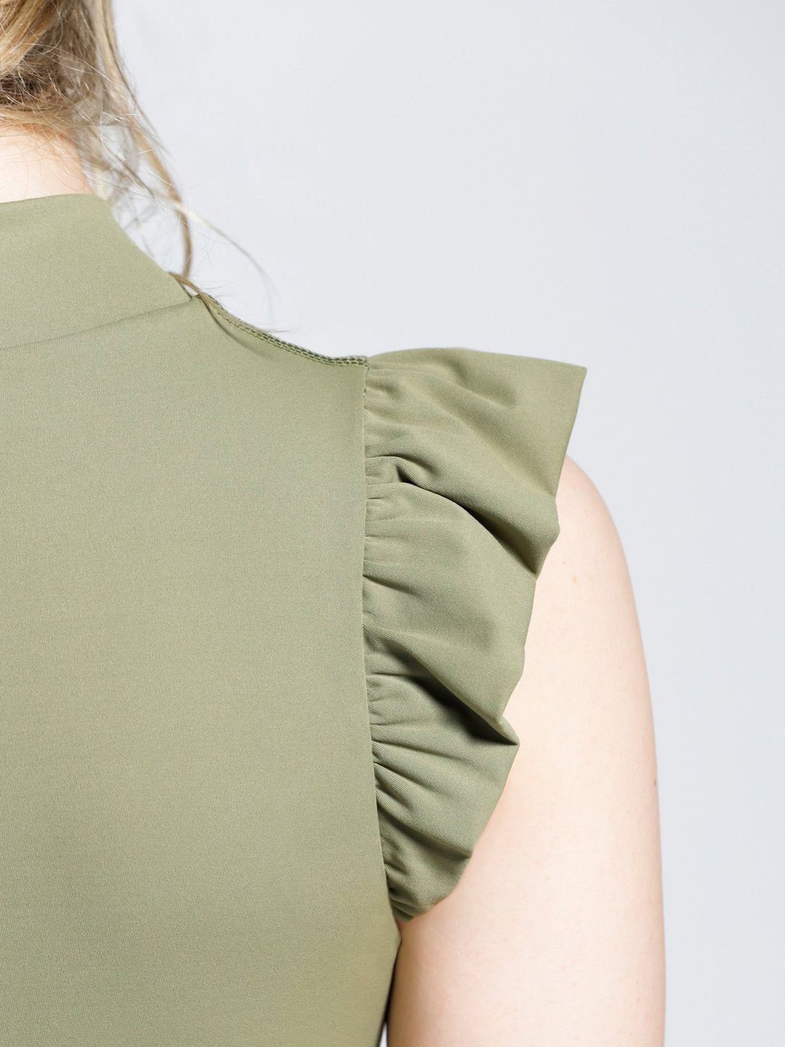 RUFFLED PURE TANK, SAGE