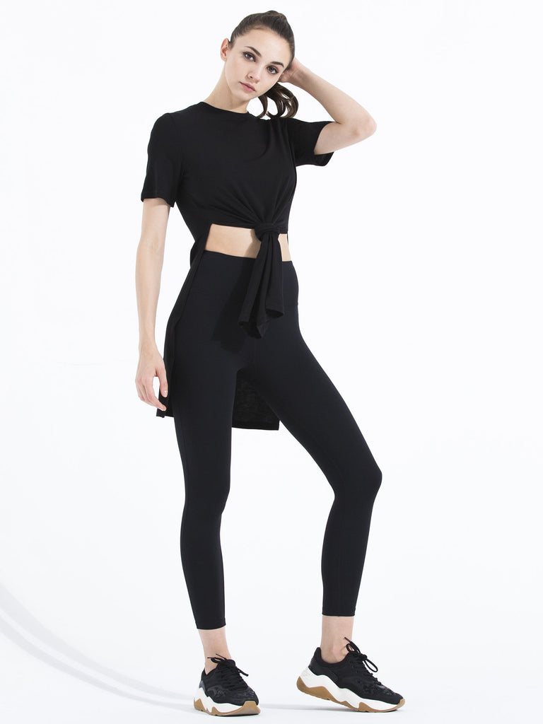 TRIPLE LONG SLIT TEE, BLACK MODAL