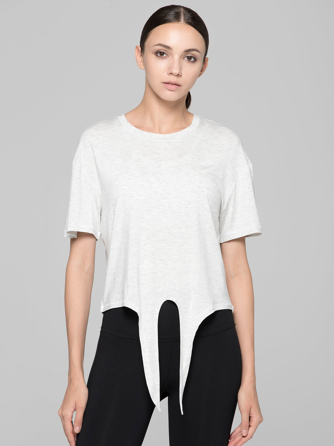 LOOSE FIT CROPPED TEE WITH FRONT TIE, LIGHT HEATHER GREY