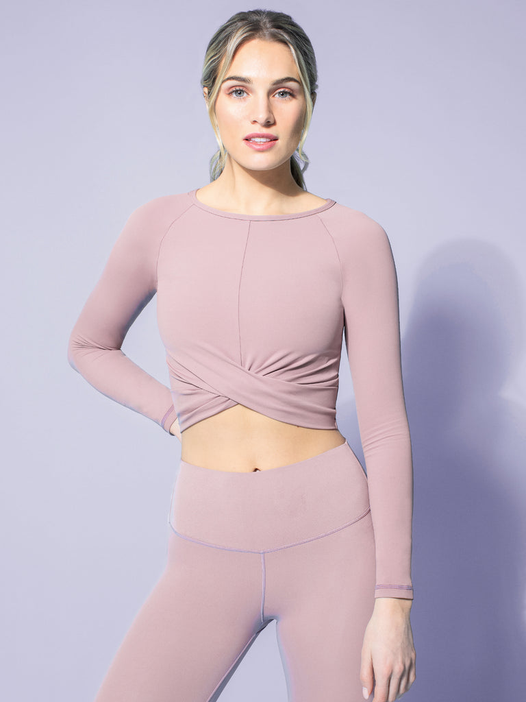 NUDE FRONT WRAP LONG SLEEVE TEE, ASH MAUVE