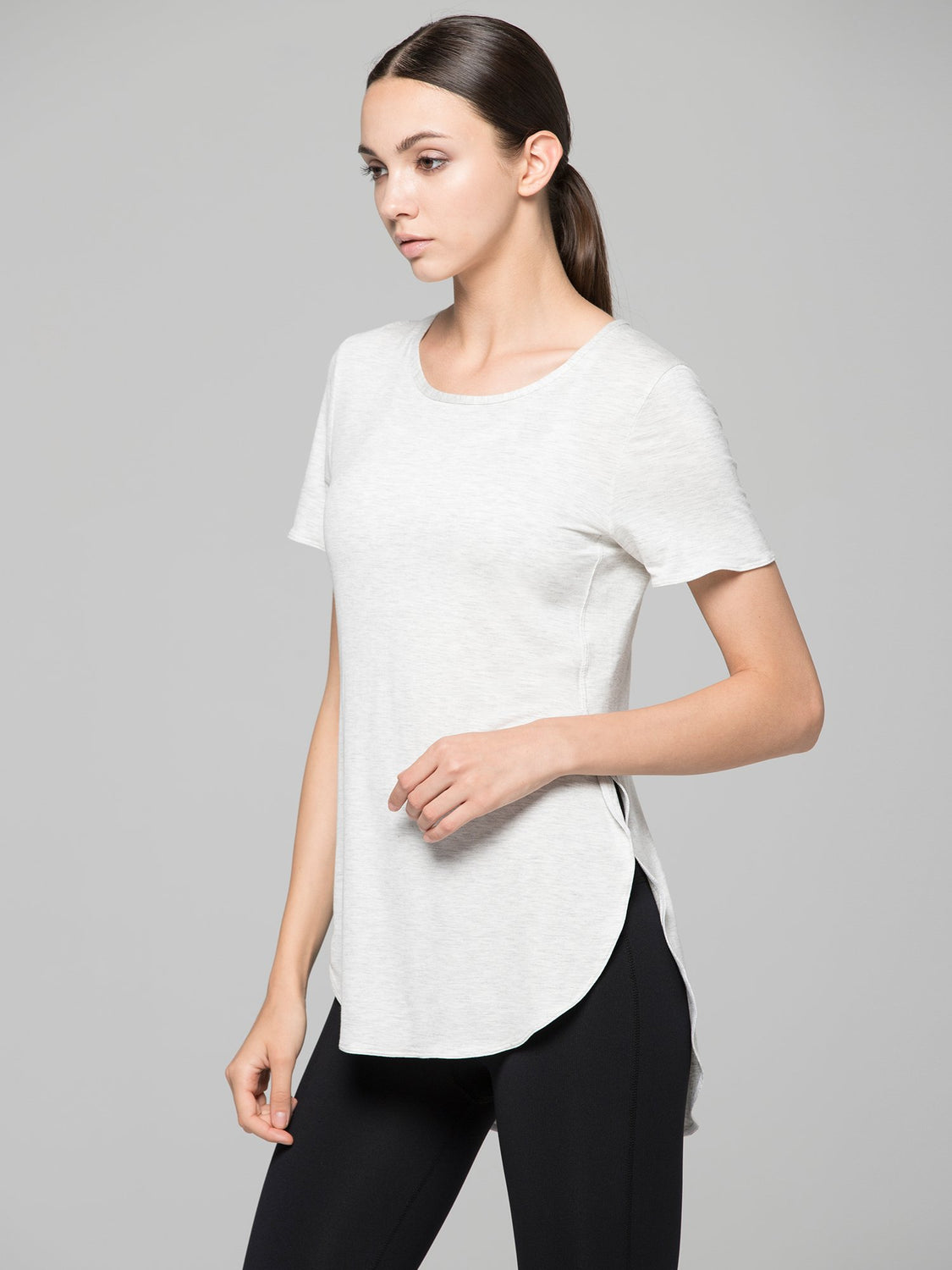 HI LO SPLIT SIDE TEE, LIGHT HEATHER GREY