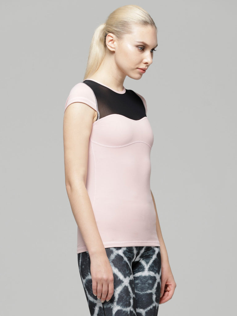 PEARL TEE , BLUSH/BLACK MESH