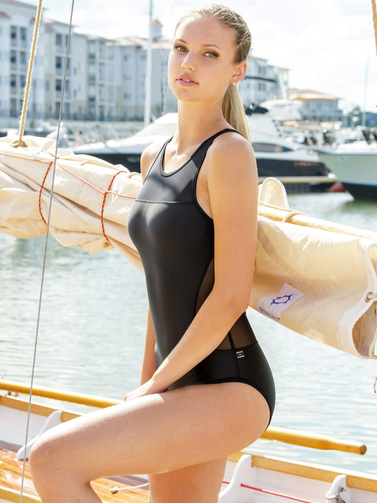 MESH SWIMSUIT, BLACK