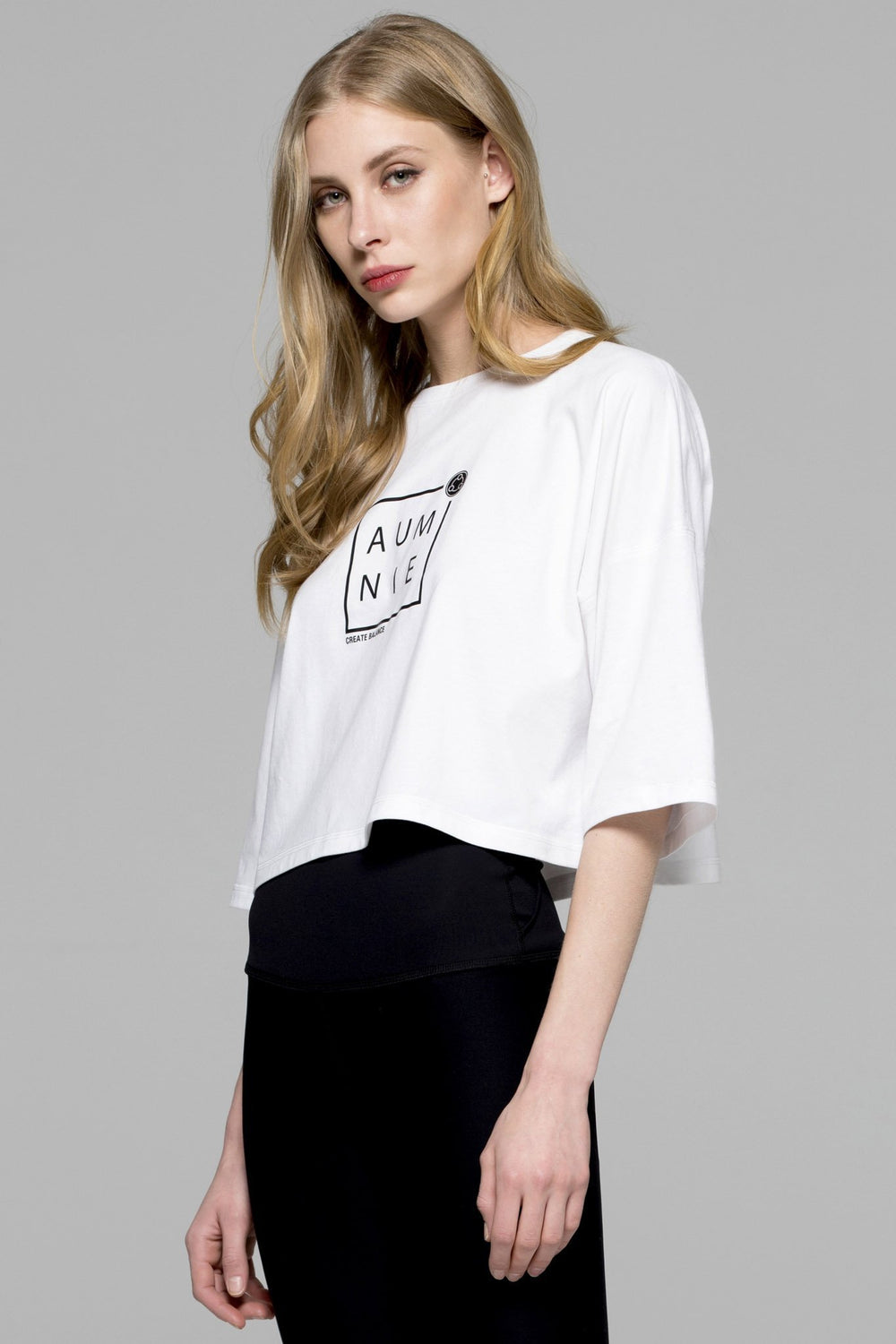 BOX LOGO OVERSIZED CROPPED TEE, WHITE