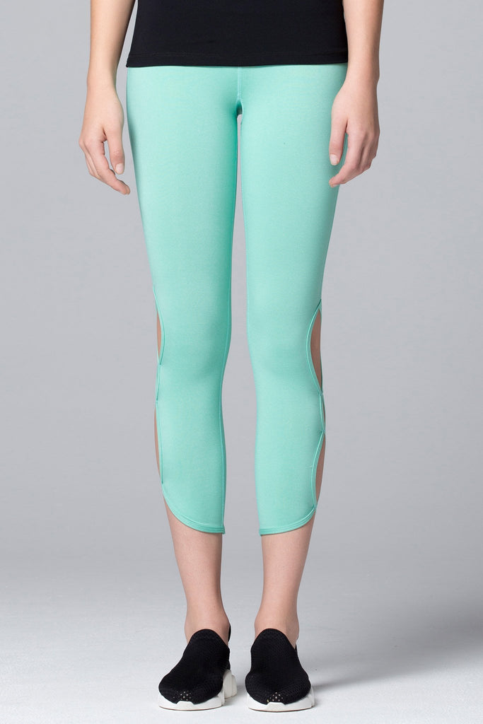 CHAKRA ANKLE CROPS 2.0 , HEATHER GREEN