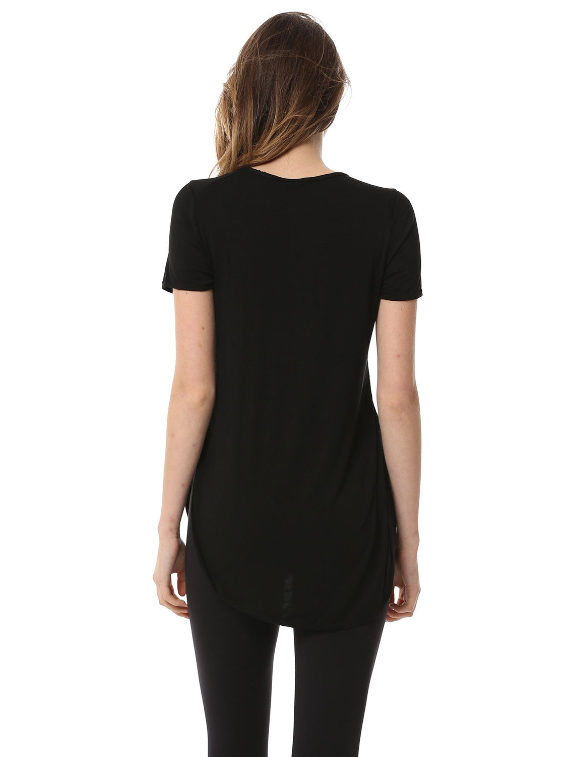 HI LO SPLIT SIDE TEE, BLACK