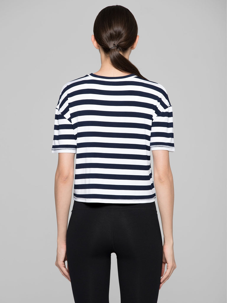 LOOSE FIT CROPPED TEE WITH FRONT TIE, NAVY STRIPES
