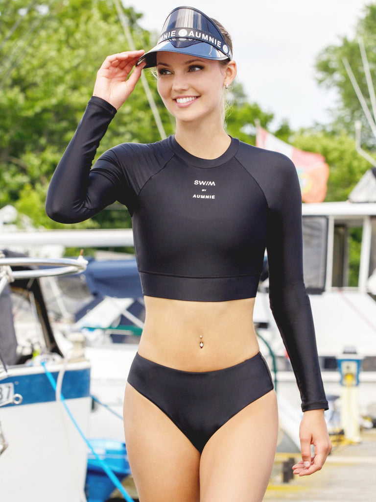CROPPED RASHGUARD BIKINI SET, BLACK