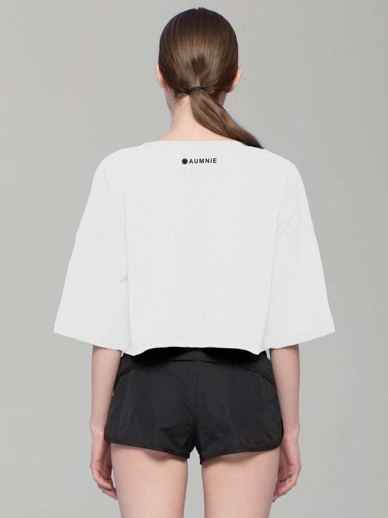 BE DIFFERENT OVERSIZED CROPPED TEE, WHITE