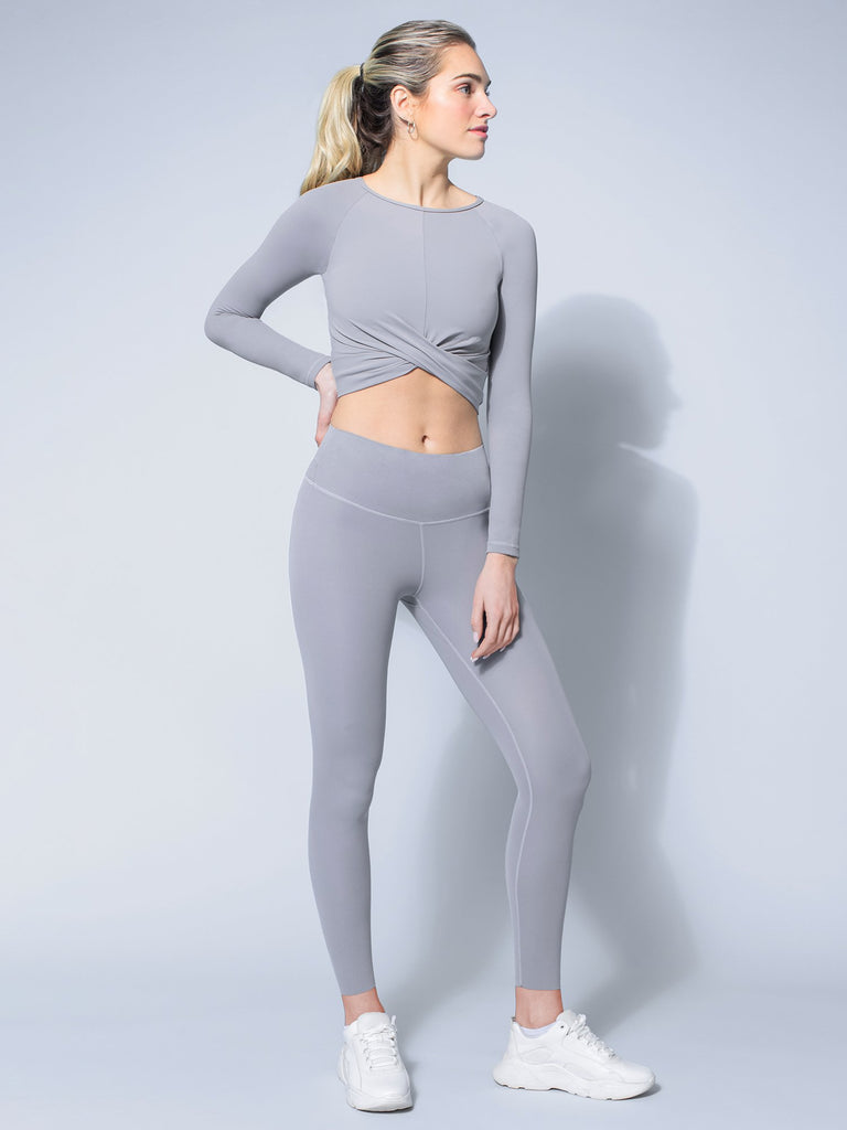 NUDE FRONT WRAP LONG SLEEVE TEE, LUNAR GREY