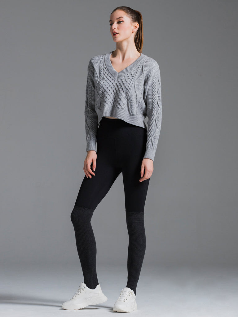 HIGH BACK SWEATER, GREY