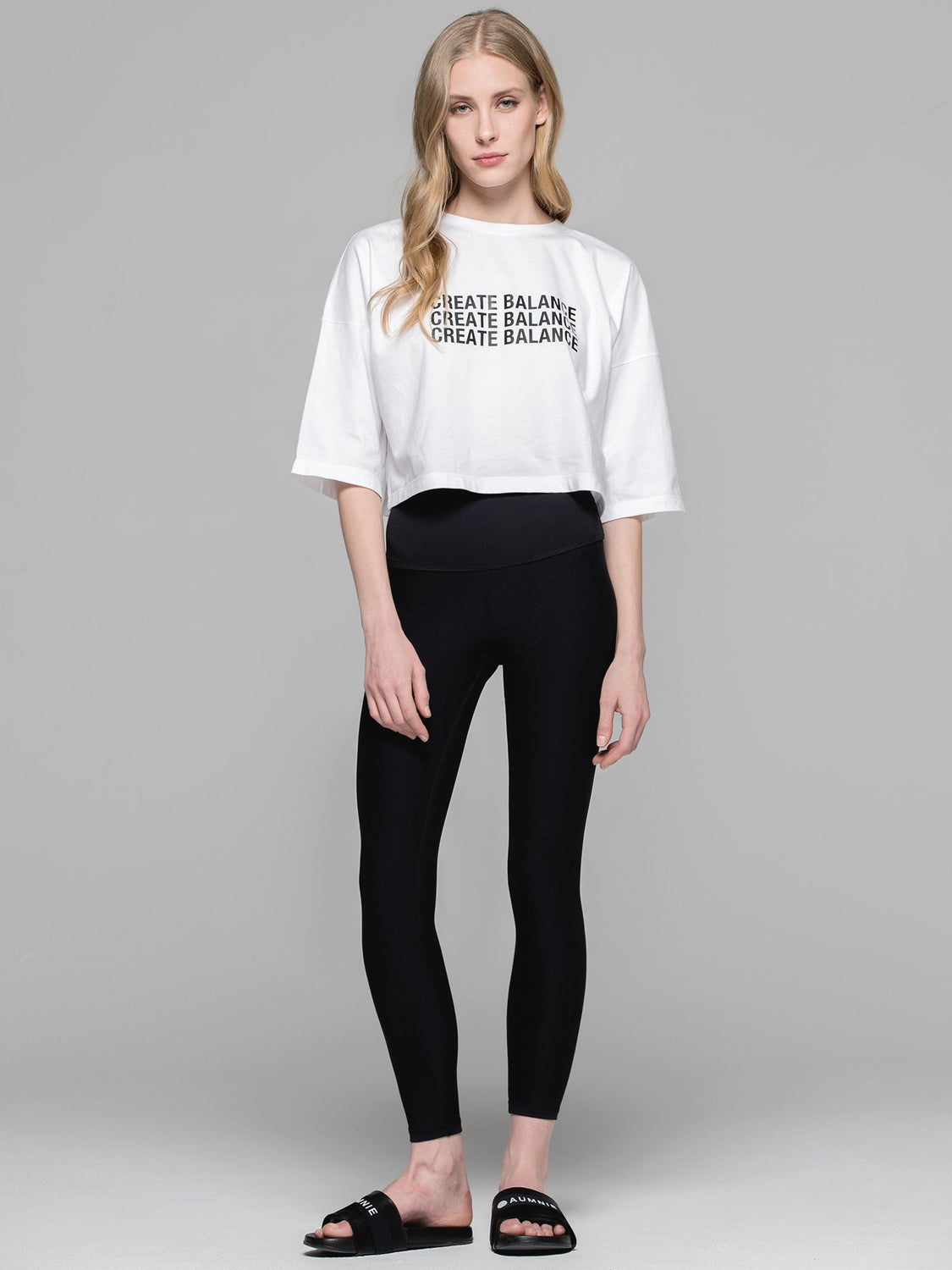 CREATE BALANCE OVERSIZED CROPPED TEE, WHITE